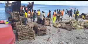 Delivery of local food crops in Pentecost by ship